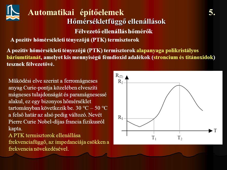 Automatikai építőelemek 5. Hőmérsékletfüggő ellenállások Félvezető ellenállás hőmérők A pozitív hőmérsékleti tényezőjű (PTK) termisztorok A pozitív hő