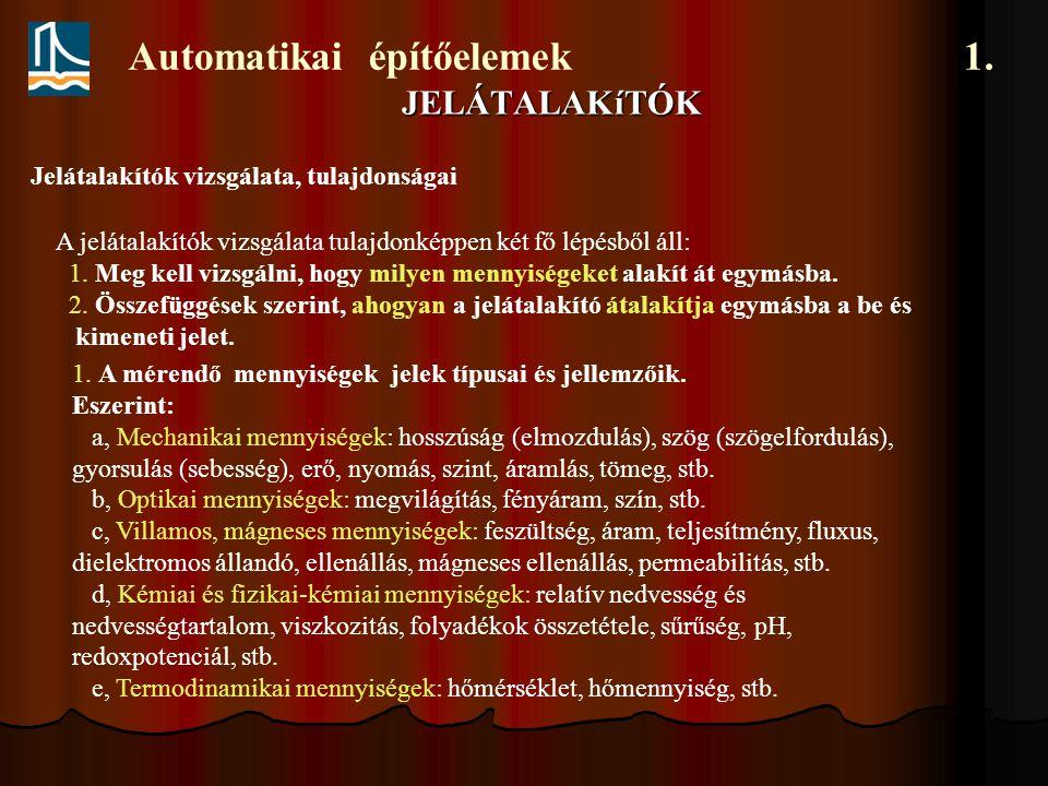 Automatikai építőelemek 1.JELÁTALAKíTÓK Jelátalakítók vizsgálata, tulajdonságai 2.