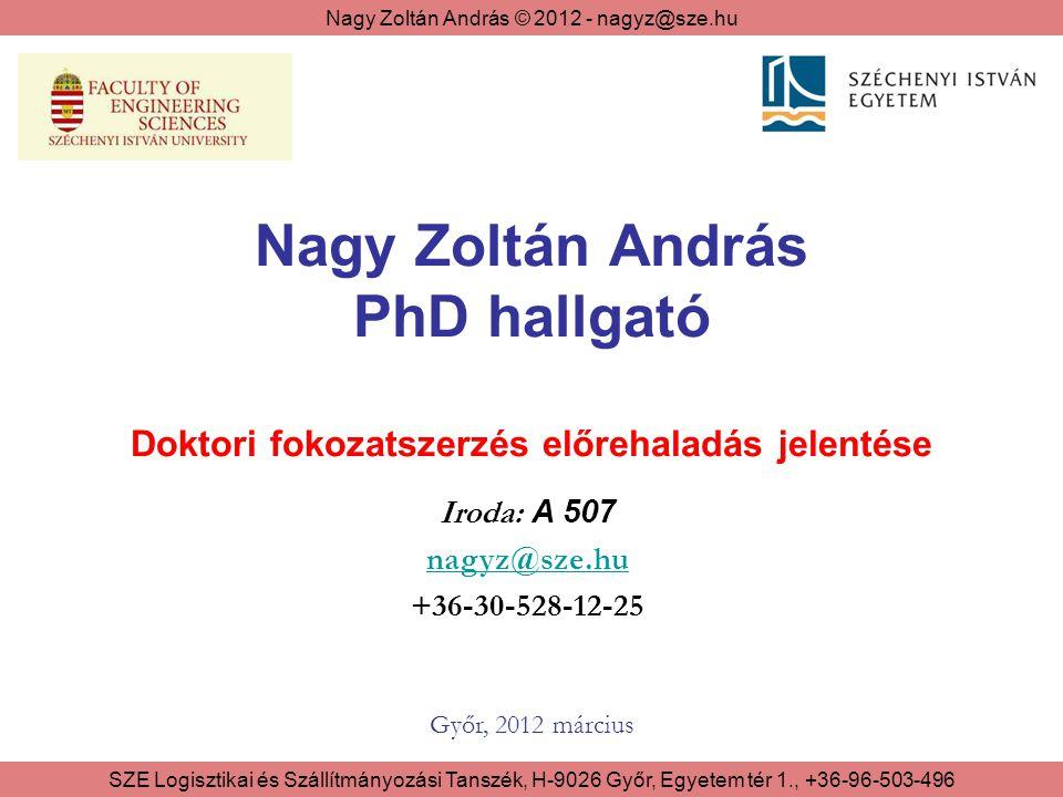 Nagy Zoltán András © 2012 - nagyz@sze.hu SZE Logisztikai és Szállítmányozási Tanszék, H-9026 Győr, Egyetem tér 1., +36-96-503-496 A jelentés felépítése 1.Szervezett képzés 2.Kiegészítő feladatok 2/1 - Publikációk 2/2 - Konferenciák 2/3 - Kutatási feladatok 2/4 - Oktatás 3.Disszertáció állapota Irodalomkutatás Egyes fejezetek publikációja