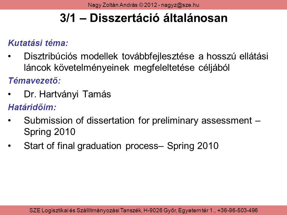 Nagy Zoltán András © 2012 - nagyz@sze.hu SZE Logisztikai és Szállítmányozási Tanszék, H-9026 Győr, Egyetem tér 1., +36-96-503-496 3/2 – Disszertáció kutatási területei Kapcsolódó irodalom: Az elmúlt 5 évből Feldolgozás folyamatban Nemzetközi publikációk nyomonkövetése Teoretikus kutatás: Ellátási láncok agilitásának mérése (módszertan) Különböző típusú ellátási láncok Elégedettségi szint ellátási modellbe illesztése