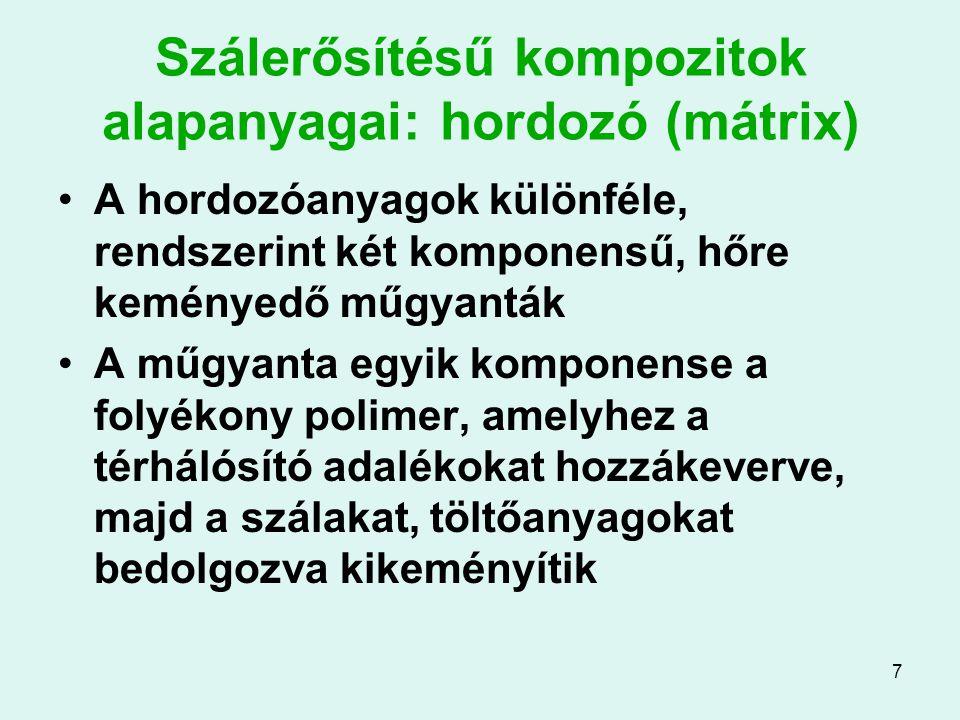 7 Szálerősítésű kompozitok alapanyagai: hordozó (mátrix) A hordozóanyagok különféle, rendszerint két komponensű, hőre keményedő műgyanták A műgyanta e
