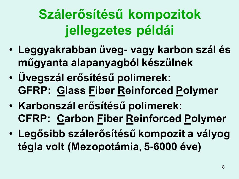 8 Szálerősítésű kompozitok jellegzetes példái Leggyakrabban üveg- vagy karbon szál és műgyanta alapanyagból készülnek Üvegszál erősítésű polimerek: GF