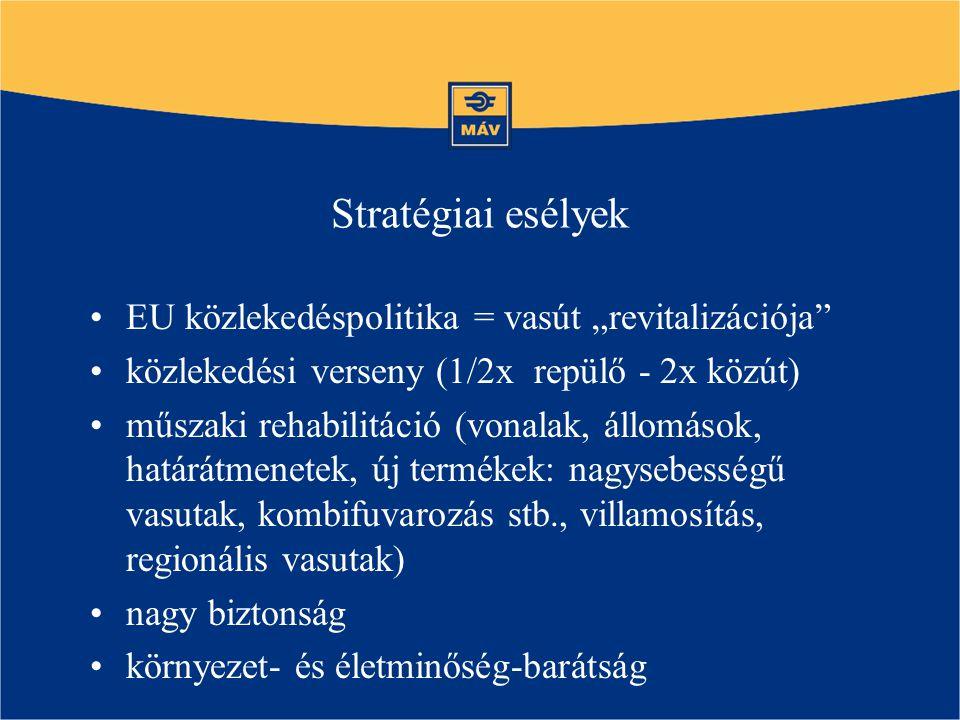 """Stratégiai esélyek EU közlekedéspolitika = vasút """"revitalizációja közlekedési verseny (1/2x repülő - 2x közút) műszaki rehabilitáció (vonalak, állomások, határátmenetek, új termékek: nagysebességű vasutak, kombifuvarozás stb., villamosítás, regionális vasutak) nagy biztonság környezet- és életminőség-barátság"""