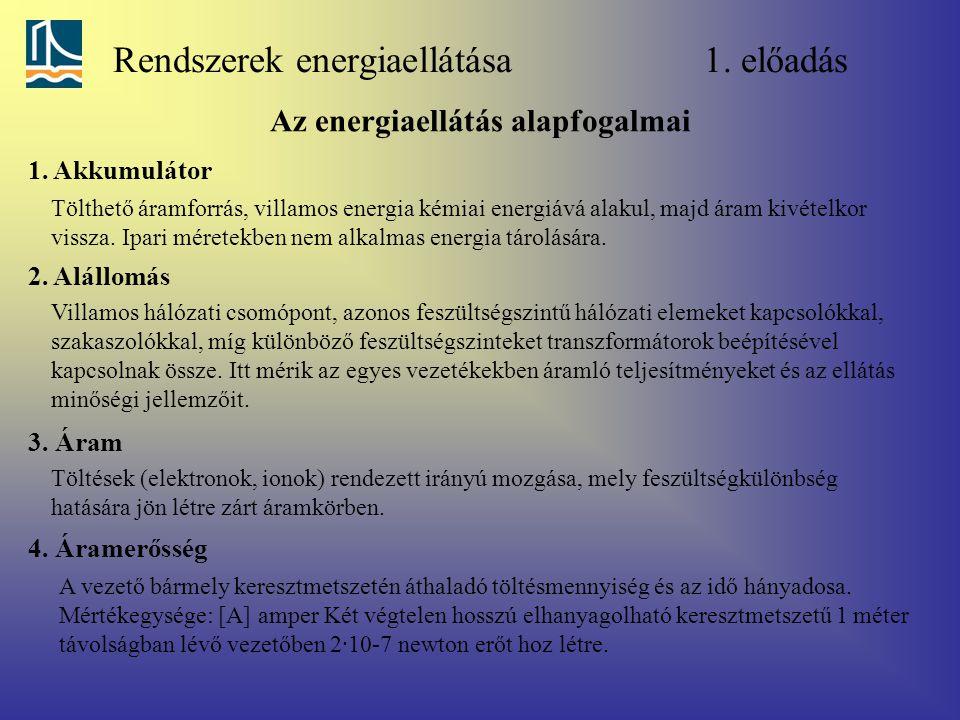 Rendszerek energiaellátása 1. előadás Az energiaellátás alapfogalmai 1. Akkumulátor Tölthető áramforrás, villamos energia kémiai energiává alakul, maj