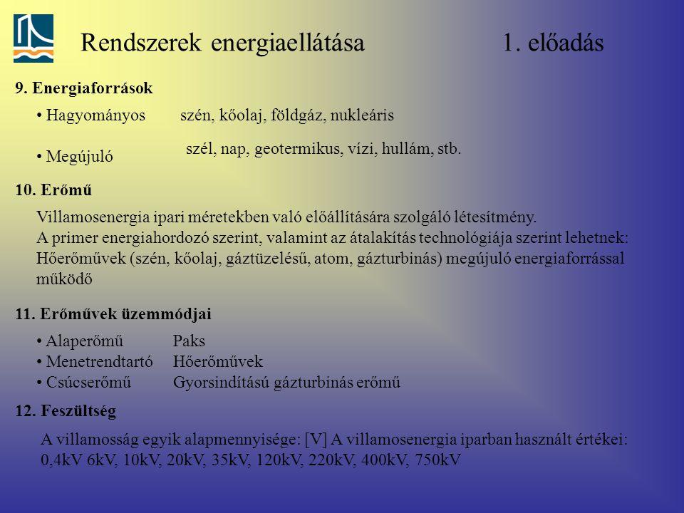Rendszerek energiaellátása 1. előadás 9. Energiaforrások Hagyományos Megújuló szén, kőolaj, földgáz, nukleáris szél, nap, geotermikus, vízi, hullám, s
