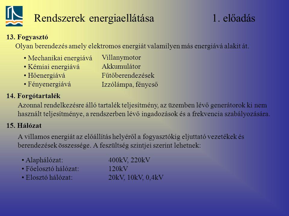 Rendszerek energiaellátása 1. előadás 13. Fogyasztó Olyan berendezés amely elektromos energiát valamilyen más energiává alakit át. Mechanikai energiáv