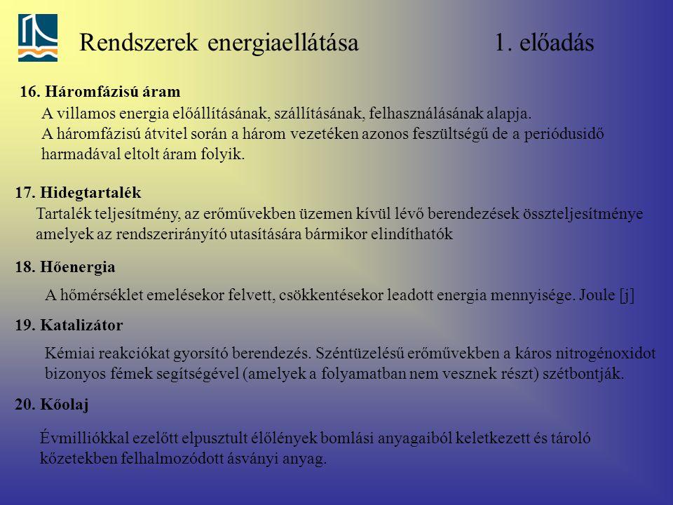 Rendszerek energiaellátása 1. előadás 16. Háromfázisú áram A villamos energia előállításának, szállításának, felhasználásának alapja. A háromfázisú át