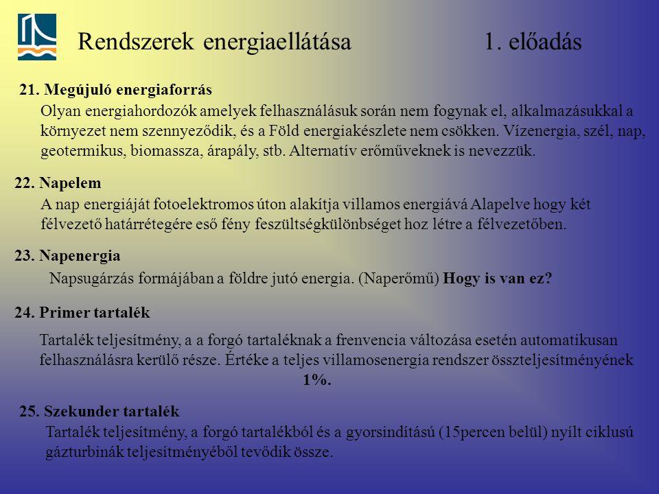Rendszerek energiaellátása 1. előadás 21. Megújuló energiaforrás Olyan energiahordozók amelyek felhasználásuk során nem fogynak el, alkalmazásukkal a