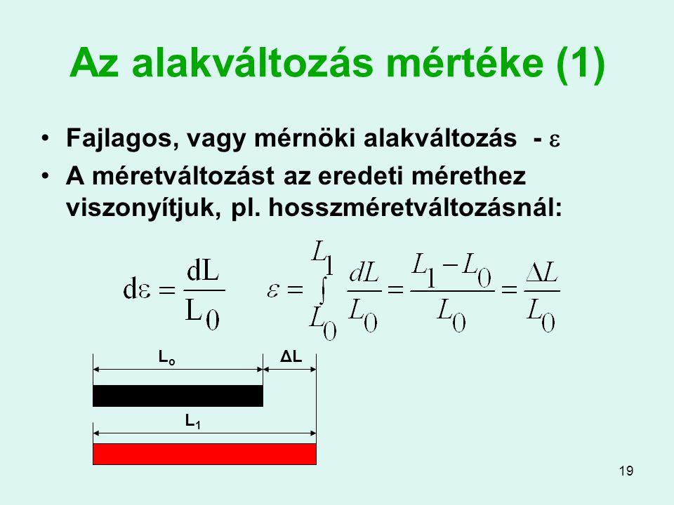 19 Az alakváltozás mértéke (1) Fajlagos, vagy mérnöki alakváltozás -  A méretváltozást az eredeti mérethez viszonyítjuk, pl. hosszméretváltozásnál: L