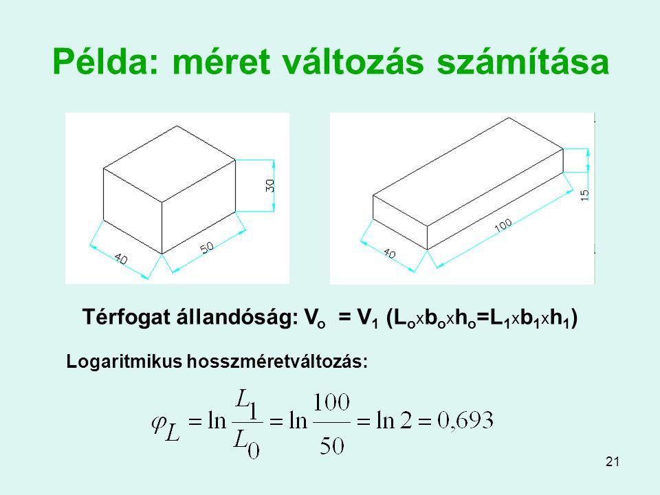 21 Példa: méret változás számítása Logaritmikus hosszméretváltozás: Térfogat állandóság: V o = V 1 (L o x b o x h o =L 1 x b 1 x h 1 )