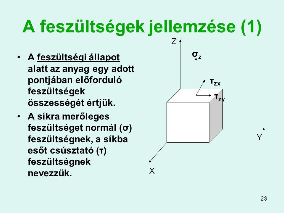 23 A feszültségek jellemzése (1) A feszültségi állapot alatt az anyag egy adott pontjában előforduló feszültségek összességét értjük. A síkra merőlege