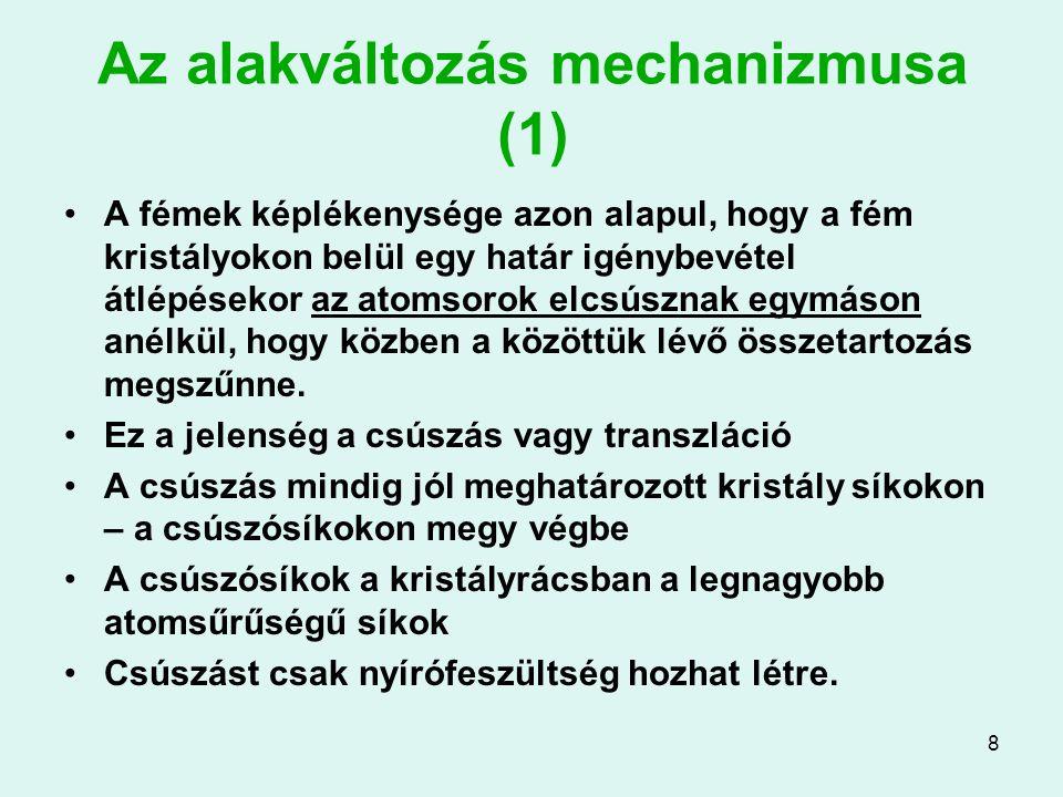 8 Az alakváltozás mechanizmusa (1) A fémek képlékenysége azon alapul, hogy a fém kristályokon belül egy határ igénybevétel átlépésekor az atomsorok el