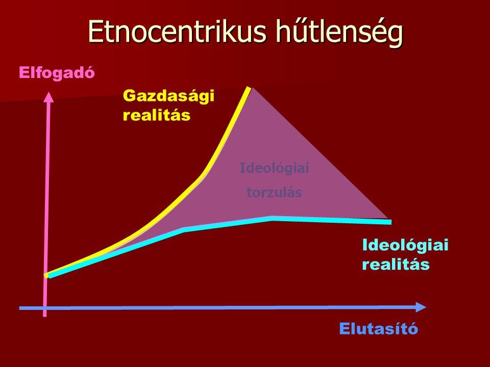 Ideológiai torzulás Etnocentrikus hűtlenség Ideológiai realitás Gazdasági realitás Elfogadó Elutasító