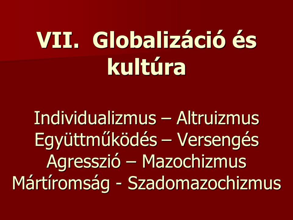 VII. Globalizáció és kultúra Individualizmus – Altruizmus Együttműködés – Versengés Agresszió – Mazochizmus Mártíromság - Szadomazochizmus