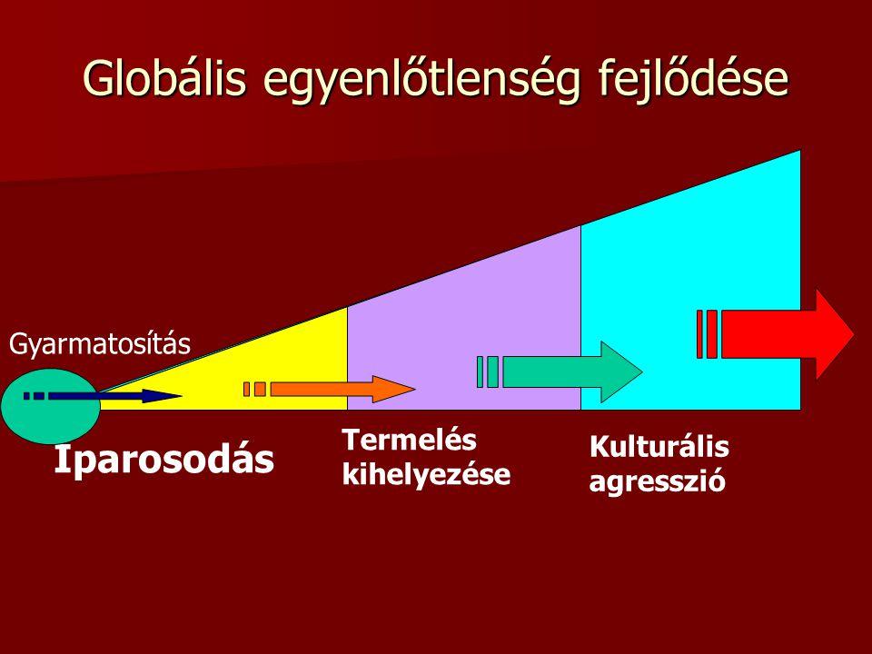 Globális egyenlőtlenség fejlődése Iparosodás Kulturális agresszió Termelés kihelyezése Gyarmatosítás