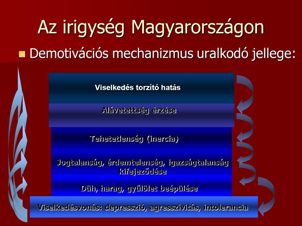 Az irigység Magyarországon Demotivációs mechanizmus uralkodó jellege: Demotivációs mechanizmus uralkodó jellege: Alávetettség érzése Tehetetlenség (in