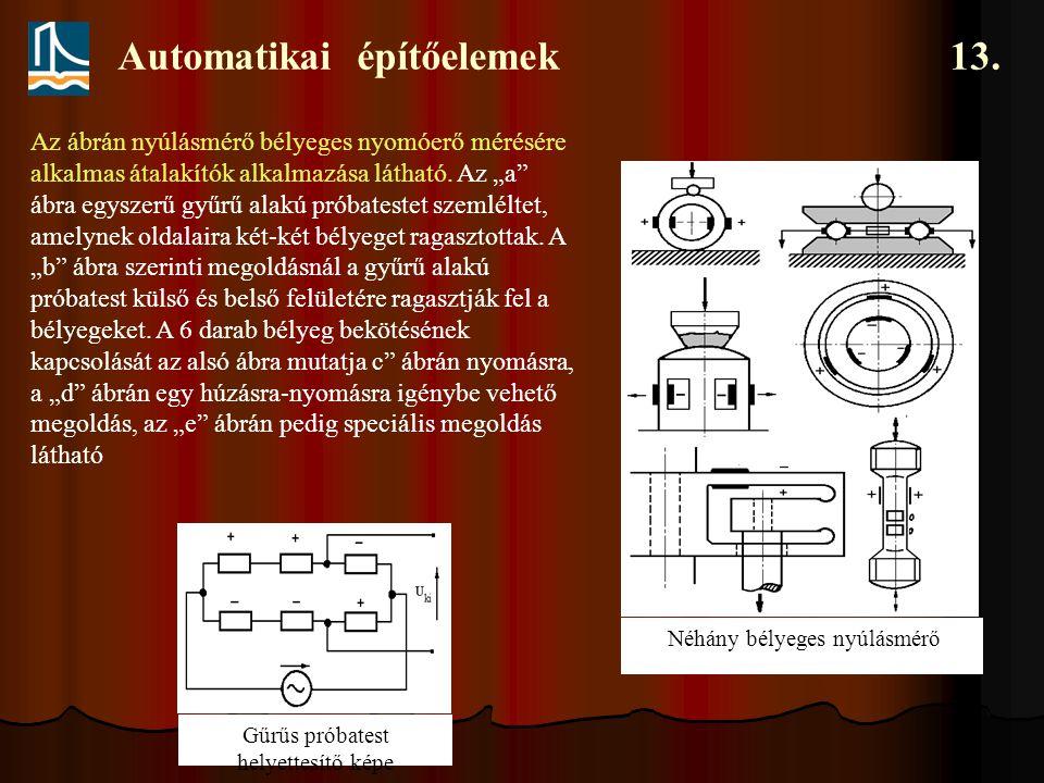"""Automatikai építőelemek 13. Néhány bélyeges nyúlásmérő Az ábrán nyúlásmérő bélyeges nyomóerő mérésére alkalmas átalakítók alkalmazása látható. Az """"a"""""""