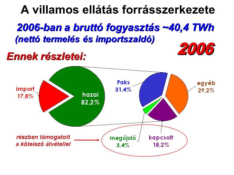 2006-ban a bruttó fogyasztás ~40,4 TWh Ennek részletei: részben támogatott a kötelező átvétellel (nettó termelés és importszaldó) A villamos ellátás forrásszerkezete