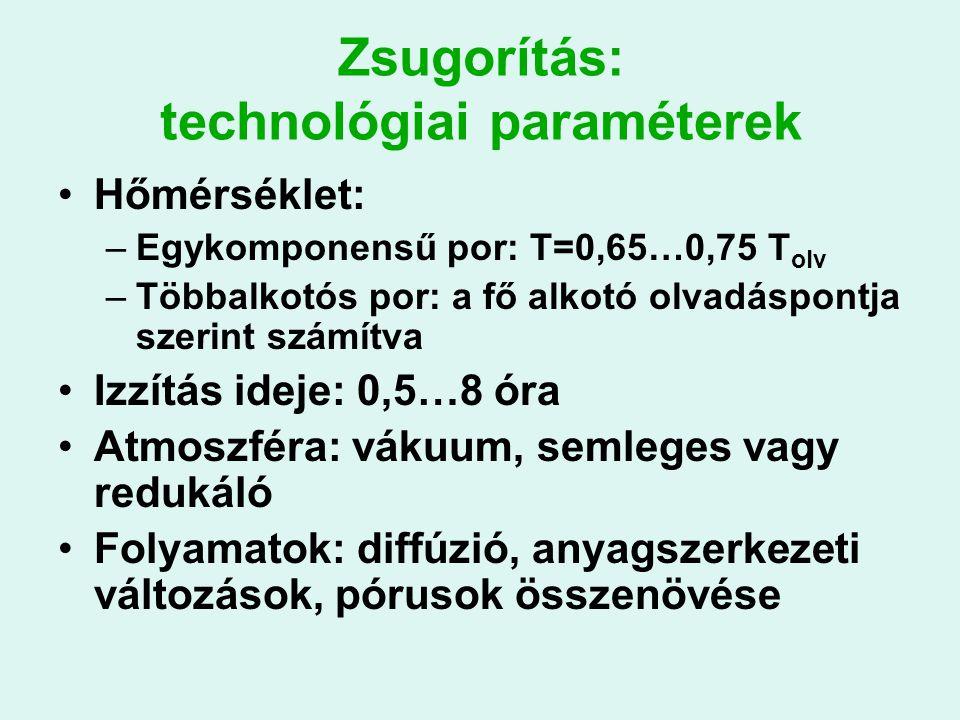 Zsugorítás: technológiai paraméterek Hőmérséklet: –Egykomponensű por: T=0,65…0,75 T olv –Többalkotós por: a fő alkotó olvadáspontja szerint számítva Izzítás ideje: 0,5…8 óra Atmoszféra: vákuum, semleges vagy redukáló Folyamatok: diffúzió, anyagszerkezeti változások, pórusok összenövése