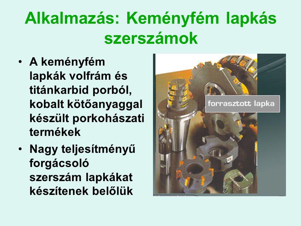 Alkalmazás: Keményfém lapkás szerszámok A keményfém lapkák volfrám és titánkarbid porból, kobalt kötőanyaggal készült porkohászati termékek Nagy teljesítményű forgácsoló szerszám lapkákat készítenek belőlük
