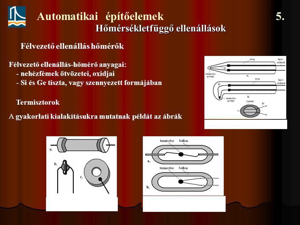 Automatikai építőelemek 5. Hőmérsékletfüggő ellenállások Félvezető ellenállás hőmérők Félvezető ellenállás-hőmérő anyagai: - nehézfémek ötvözetei, oxi
