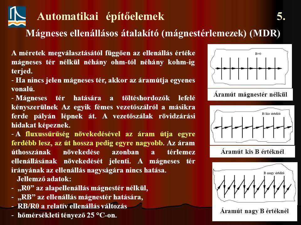 Automatikai építőelemek 5. A méretek megválasztásától függően az ellenállás értéke mágneses tér nélkül néhány ohm-tól néhány kohm-ig terjed. - Ha ninc