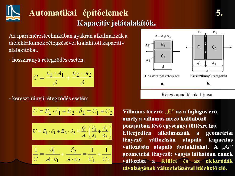 Automatikai építőelemek 5. Kapacitív jelátalakítók. Rétegkapacitások típusai Az ipari méréstechnikában gyakran alkalmazzák a dielektrikumok rétegzésév