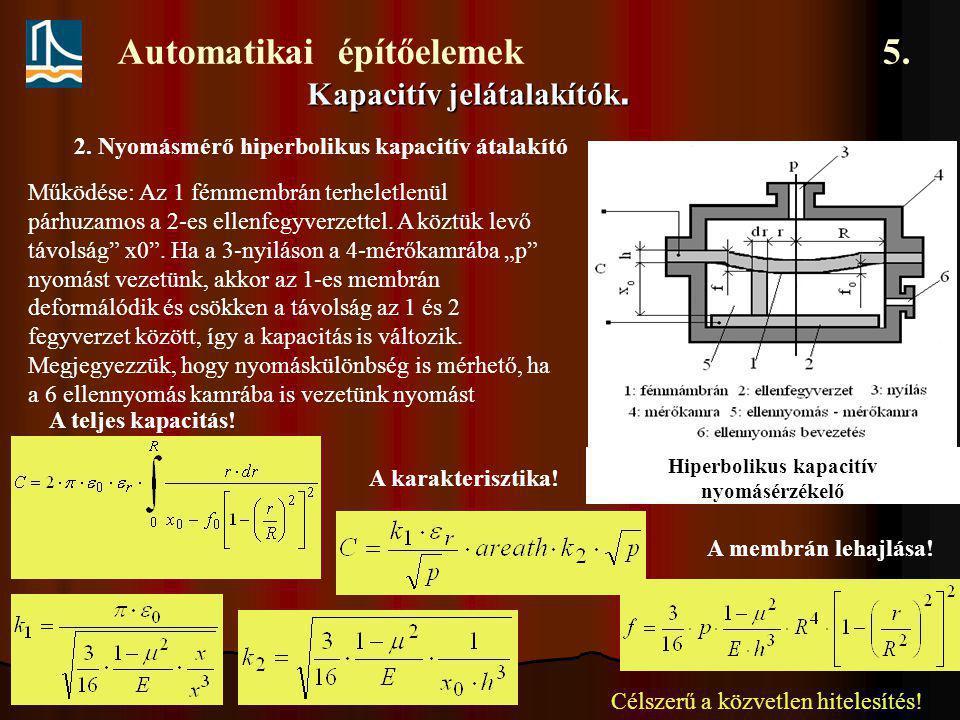 Automatikai építőelemek 5. Kapacitív jelátalakítók. 2. Nyomásmérő hiperbolikus kapacitív átalakító Hiperbolikus kapacitív nyomásérzékelő Működése: Az
