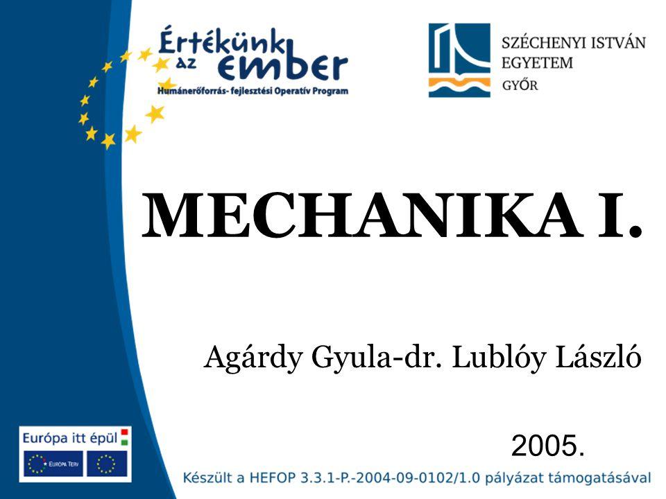 Széchenyi István Egyetem 32 CSOMÓPONTI MÓDSZER VAKRUDAK RÁCSOSTARTÓK MECHANIKA I.