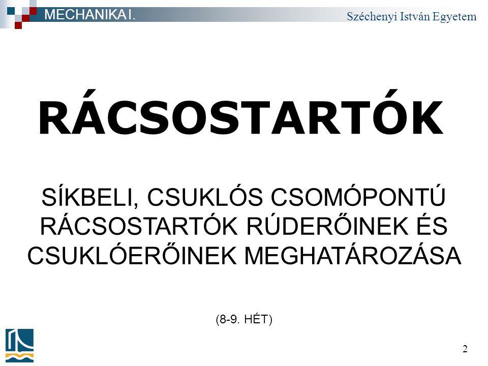 Széchenyi István Egyetem 53 RUDAKON TERHELT RÁCSOSTARTÓ a közvetlen terhelésű rúdra a csuklóerőket kell megadnunk RÁCSOSTARTÓK MECHANIKA I.