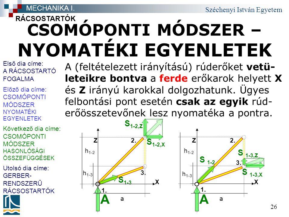 Széchenyi István Egyetem 26 CSOMÓPONTI MÓDSZER – NYOMATÉKI EGYENLETEK A (feltételezett irányítású) rúderőket vetü- leteikre bontva a ferde erőkarok helyett X és Z irányú karokkal dolgozhatunk.