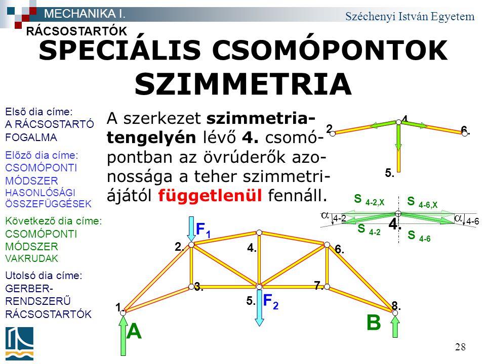 Széchenyi István Egyetem 28 SPECIÁLIS CSOMÓPONTOK SZIMMETRIA A szerkezet szimmetria- tengelyén lévő 4. csomó- pontban az övrúderők azo- nossága a tehe
