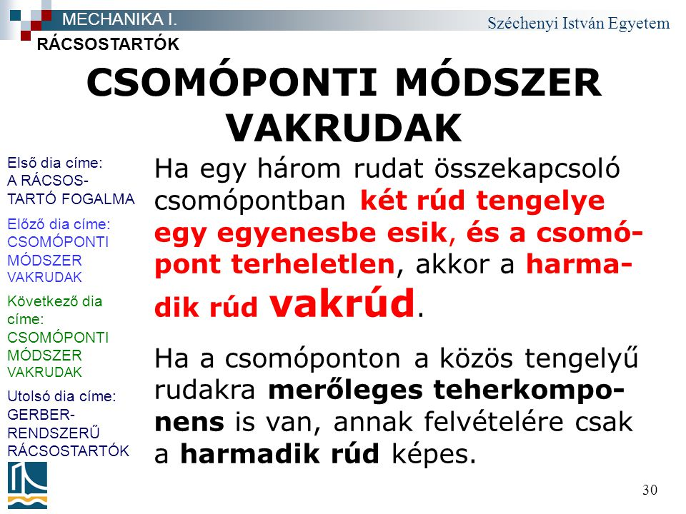 Széchenyi István Egyetem 30 CSOMÓPONTI MÓDSZER VAKRUDAK RÁCSOSTARTÓK MECHANIKA I.