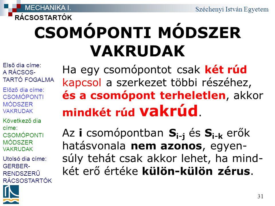 Széchenyi István Egyetem 31 CSOMÓPONTI MÓDSZER VAKRUDAK RÁCSOSTARTÓK MECHANIKA I. Ha egy csomópontot csak két rúd kapcsol a szerkezet többi részéhez,