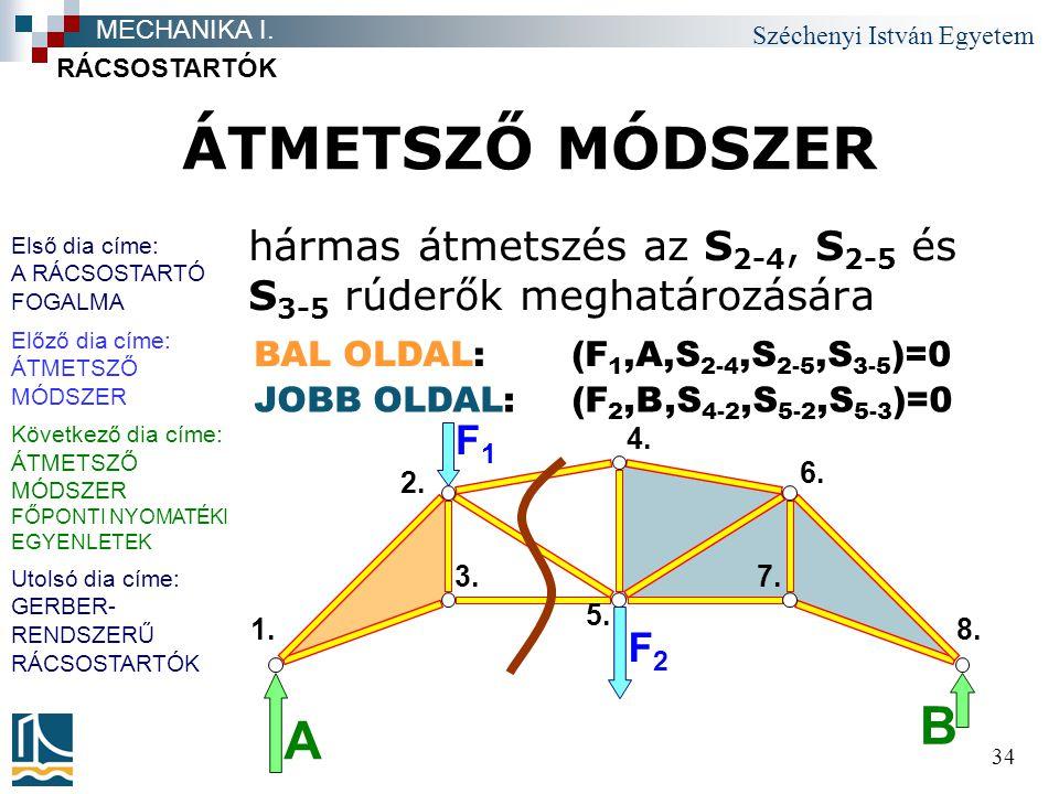Széchenyi István Egyetem 34 ÁTMETSZŐ MÓDSZER hármas átmetszés az S 2-4, S 2-5 és S 3-5 rúderők meghatározására RÁCSOSTARTÓK MECHANIKA I. F1F1 F2F2 B A