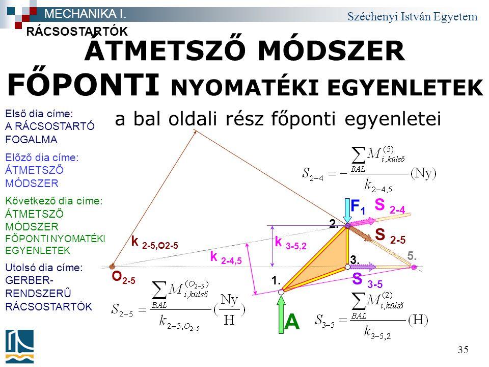 Széchenyi István Egyetem 35 ÁTMETSZŐ MÓDSZER FŐPONTI NYOMATÉKI EGYENLETEK a bal oldali rész főponti egyenletei RÁCSOSTARTÓK MECHANIKA I. S 3-5 F1F1 A