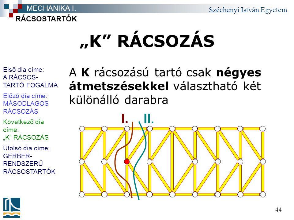 """Széchenyi István Egyetem 44 """"K"""" RÁCSOZÁS A K rácsozású tartó csak négyes átmetszésekkel választható két különálló darabra RÁCSOSTARTÓK MECHANIKA I. I."""