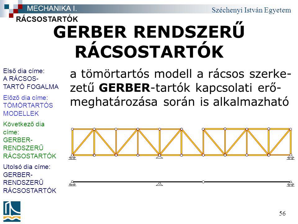 Széchenyi István Egyetem 56 GERBER RENDSZERŰ RÁCSOSTARTÓK a tömörtartós modell a rácsos szerke- zetű GERBER-tartók kapcsolati erő- meghatározása során is alkalmazható RÁCSOSTARTÓK MECHANIKA I.
