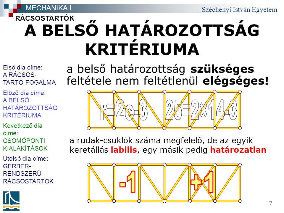 Széchenyi István Egyetem 7 A BELSŐ HATÁROZOTTSÁG KRITÉRIUMA a belső határozottság szükséges feltétele nem feltétlenül elégséges! RÁCSOSTARTÓK MECHANIK