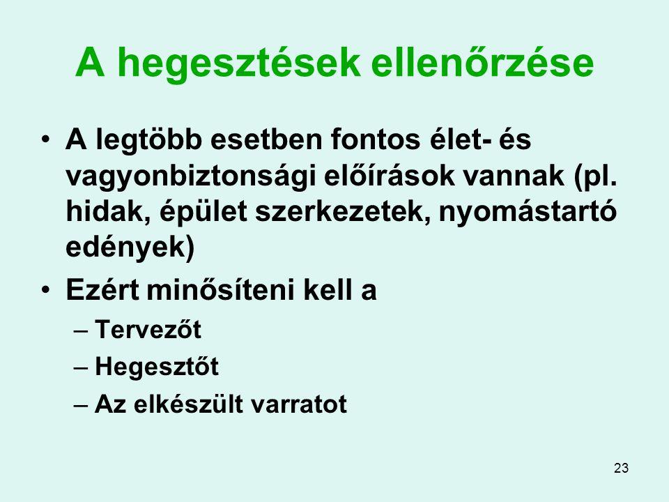 23 A hegesztések ellenőrzése A legtöbb esetben fontos élet- és vagyonbiztonsági előírások vannak (pl. hidak, épület szerkezetek, nyomástartó edények)