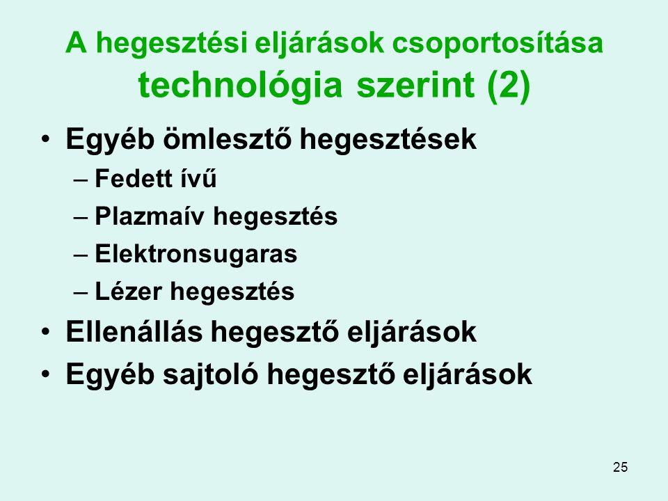 25 A hegesztési eljárások csoportosítása technológia szerint (2) Egyéb ömlesztő hegesztések –Fedett ívű –Plazmaív hegesztés –Elektronsugaras –Lézer he