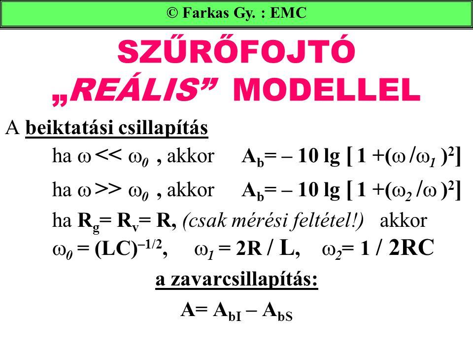 """SZŰRŐFOJTÓ """"REÁLIS MODELLEL A beiktatási csillapítás ha  <<  0, akkorA b = – 10 lg [ 1 +(  /  1 ) 2 ] ha  >>  0, akkorA b = – 10 lg [ 1 +(  2 /  ) 2 ] ha R g = R v = R, (csak mérési feltétel!) akkor  0 = (LC) –1/2,  1 = 2R / L,  2 = 1 / 2RC a zavarcsillapítás: A= A bI – A bS © Farkas Gy."""