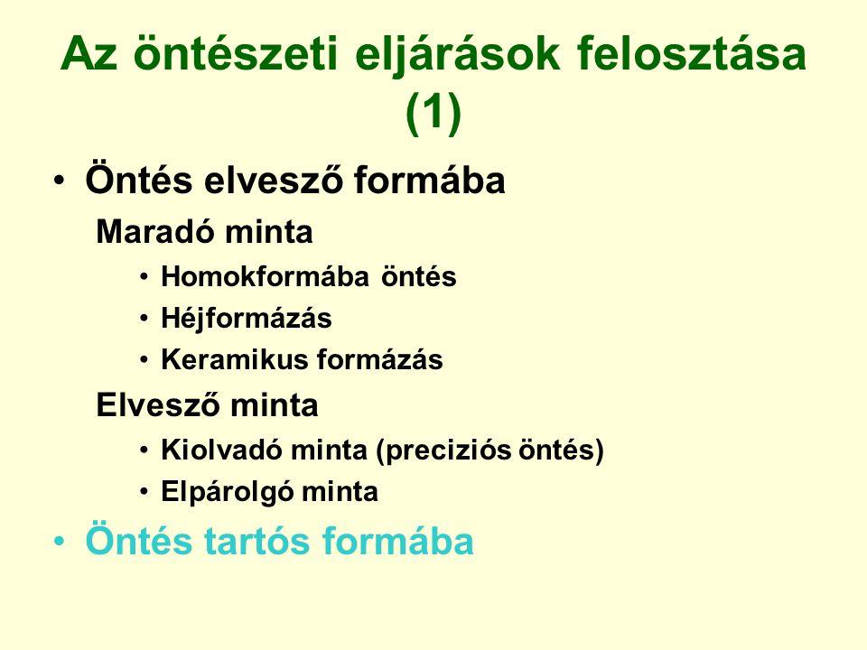 Az öntészeti eljárások felosztása (1) Öntés elvesző formába Maradó minta Homokformába öntés Héjformázás Keramikus formázás Elvesző minta Kiolvadó mint