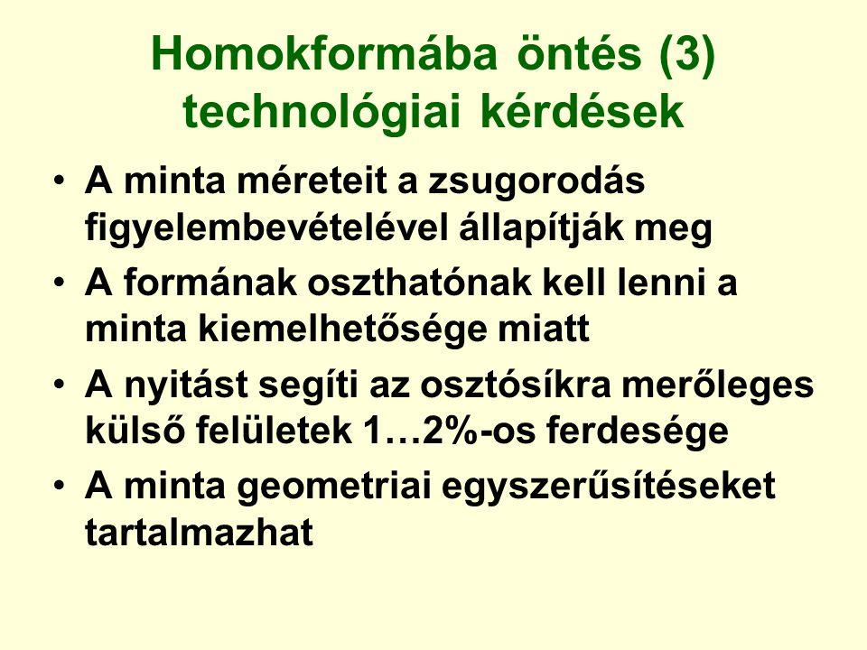 Homokformába öntés (3) technológiai kérdések A minta méreteit a zsugorodás figyelembevételével állapítják meg A formának oszthatónak kell lenni a mint