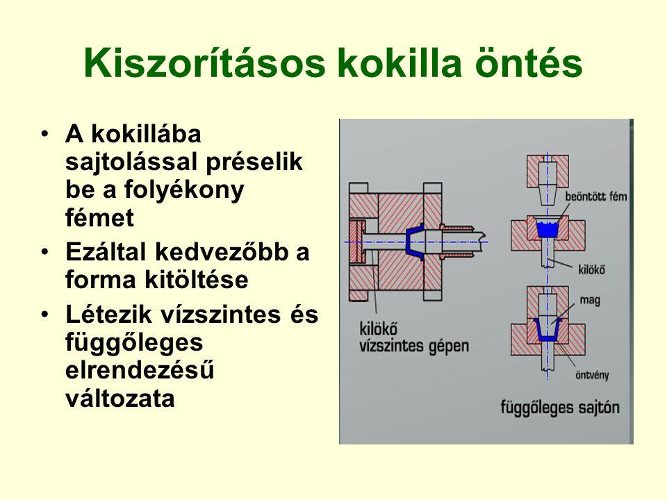 Kiszorításos kokilla öntés A kokillába sajtolással préselik be a folyékony fémet Ezáltal kedvezőbb a forma kitöltése Létezik vízszintes és függőleges