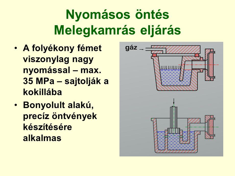 Nyomásos öntés Melegkamrás eljárás A folyékony fémet viszonylag nagy nyomással – max. 35 MPa – sajtolják a kokillába Bonyolult alakú, precíz öntvények