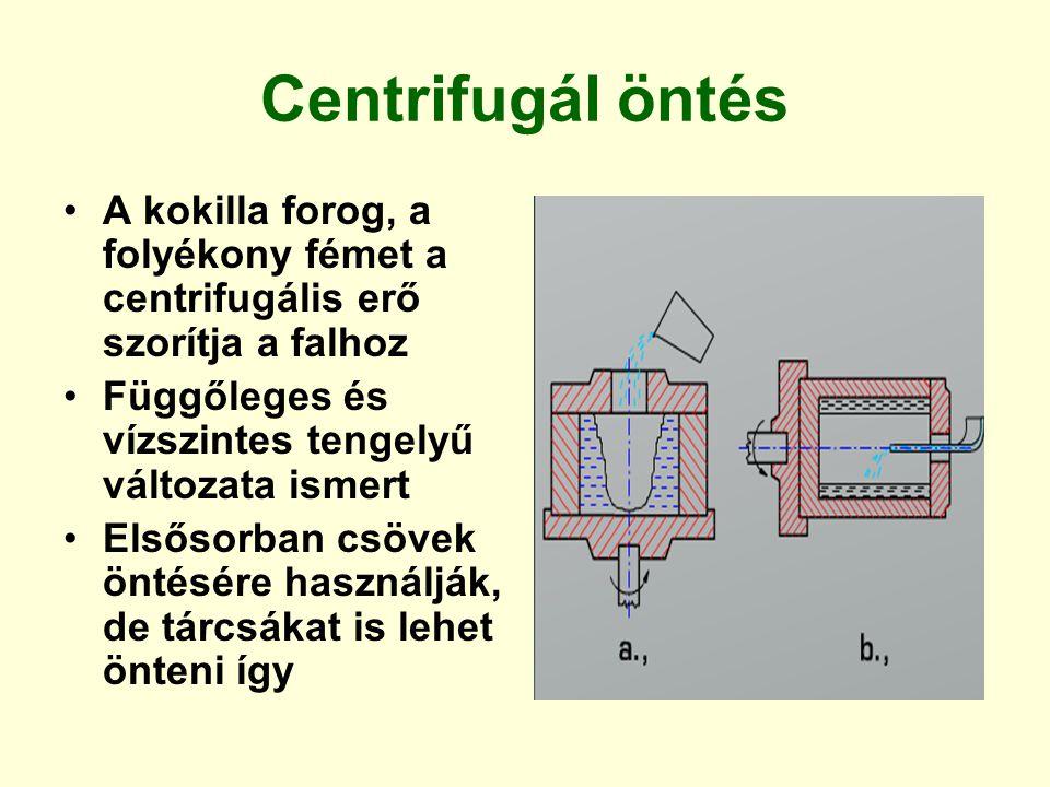 Centrifugál öntés A kokilla forog, a folyékony fémet a centrifugális erő szorítja a falhoz Függőleges és vízszintes tengelyű változata ismert Elsősorb