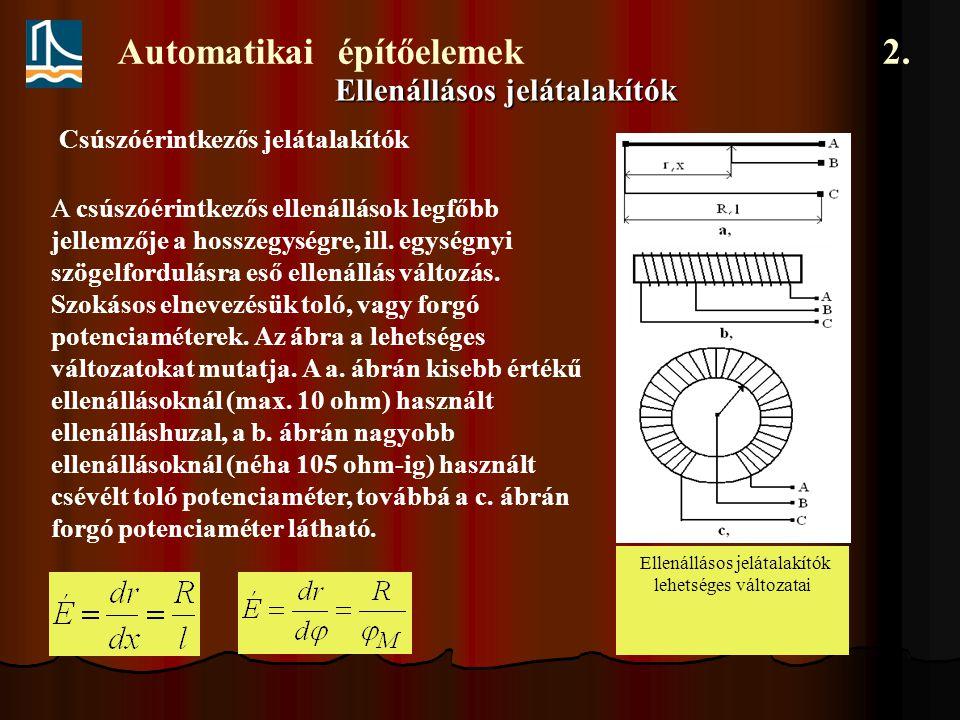 Automatikai építőelemek 2. Ellenállásos jelátalakítók Csúszóérintkezős jelátalakítók A csúszóérintkezős ellenállások legfőbb jellemzője a hosszegységr