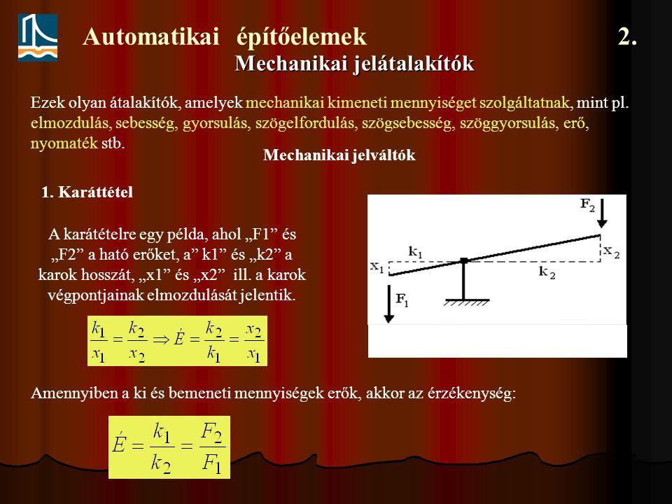 """Automatikai építőelemek 2. Mechanikai jelátalakítók A karátételre egy példa, ahol """"F1"""" és """"F2"""" a ható erőket, a"""" k1"""" és """"k2"""" a karok hosszát, """"x1"""" és"""