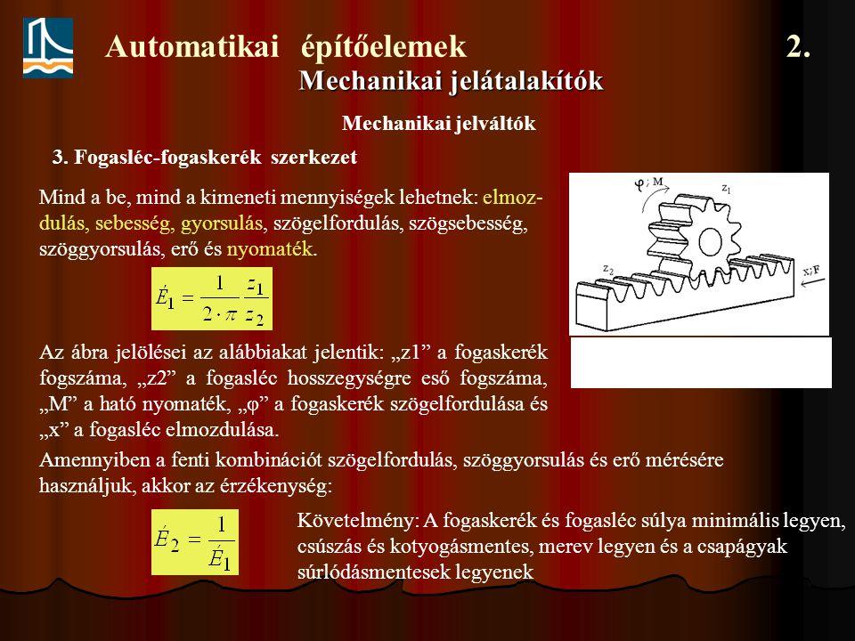 Automatikai építőelemek 2. Mechanikai jelátalakítók Mind a be, mind a kimeneti mennyiségek lehetnek: elmoz- dulás, sebesség, gyorsulás, szögelfordulás